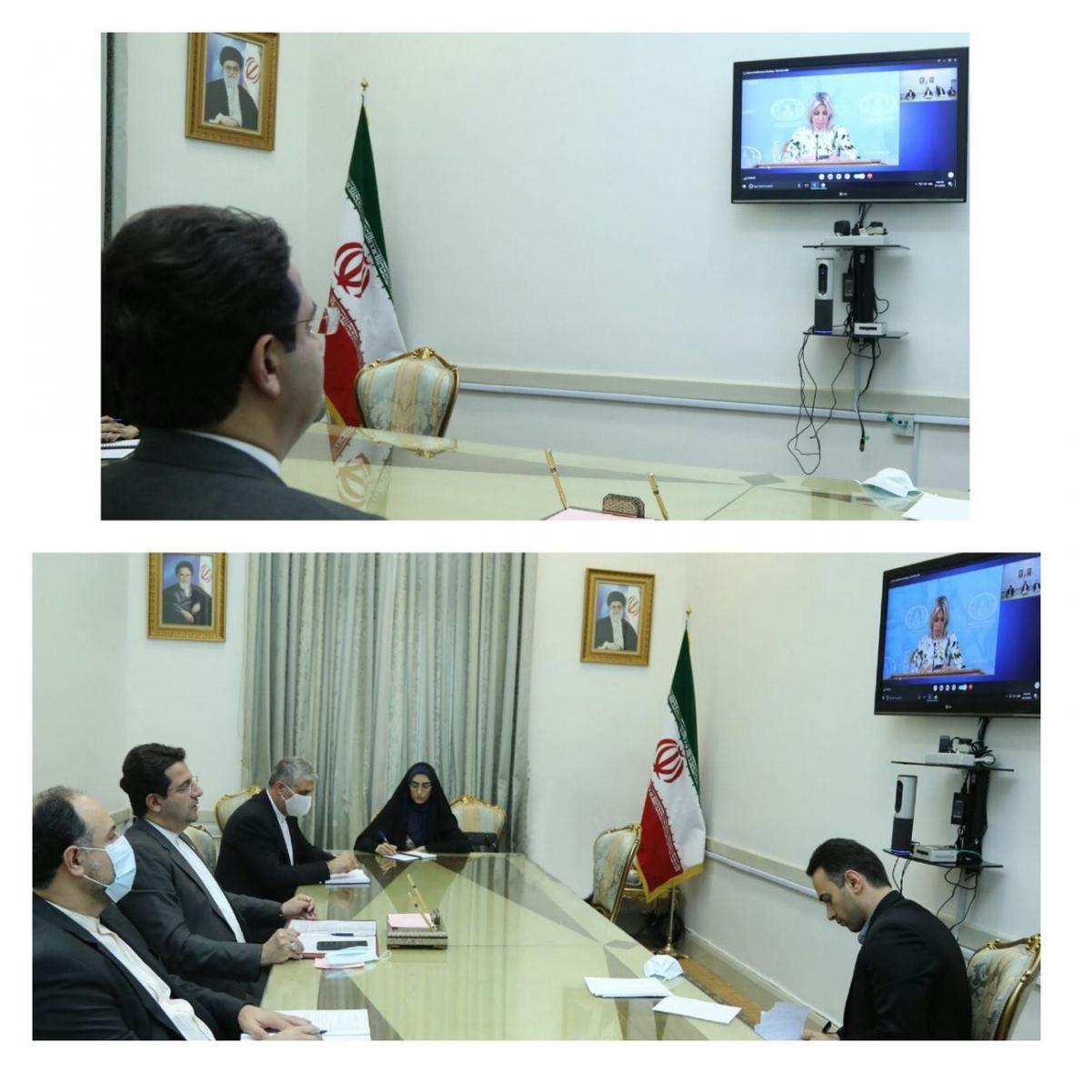 گفتگوی ویدئو کنفرانسی سخنگوی وزارت امور خارجه ایران و روسیه
