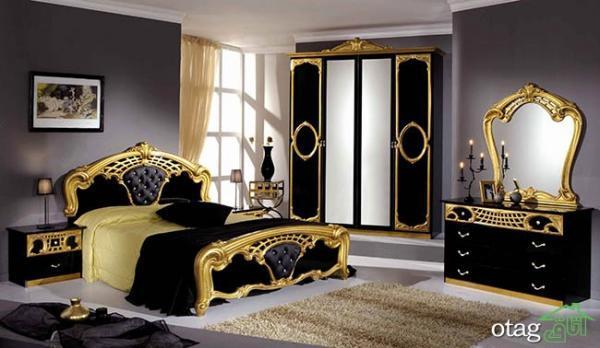 دکوراسیون مشکی طلایی بسیار زیبا مناسب اتاق خواب های لوکس
